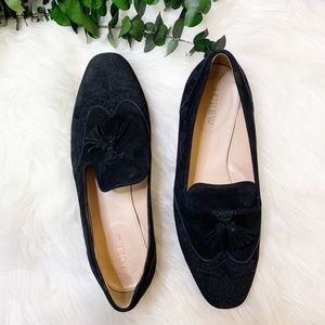 J. Crew | Georgie Black Suede Tassel Loafers